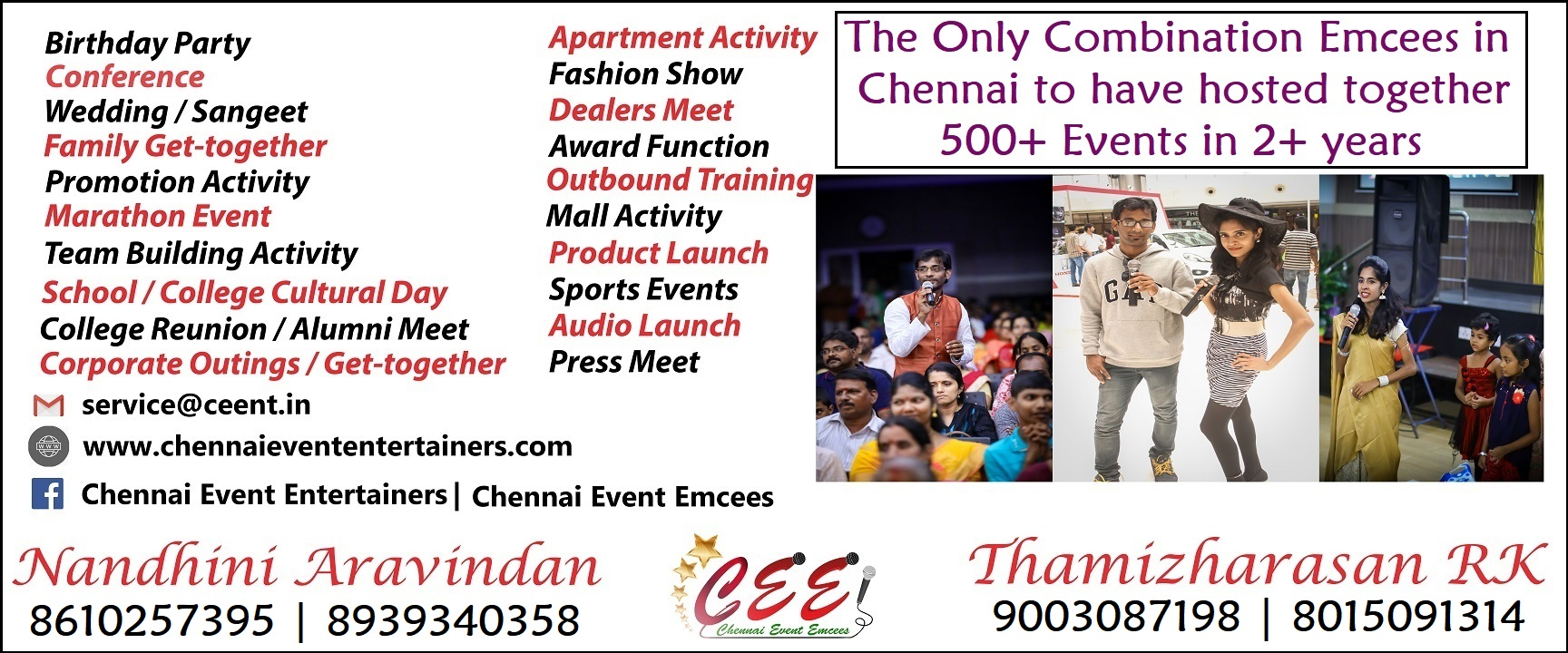 Chennai Event Professionals Emcees and Entertainers Nandhini Aravindan and Thamizharasan Karunakaran