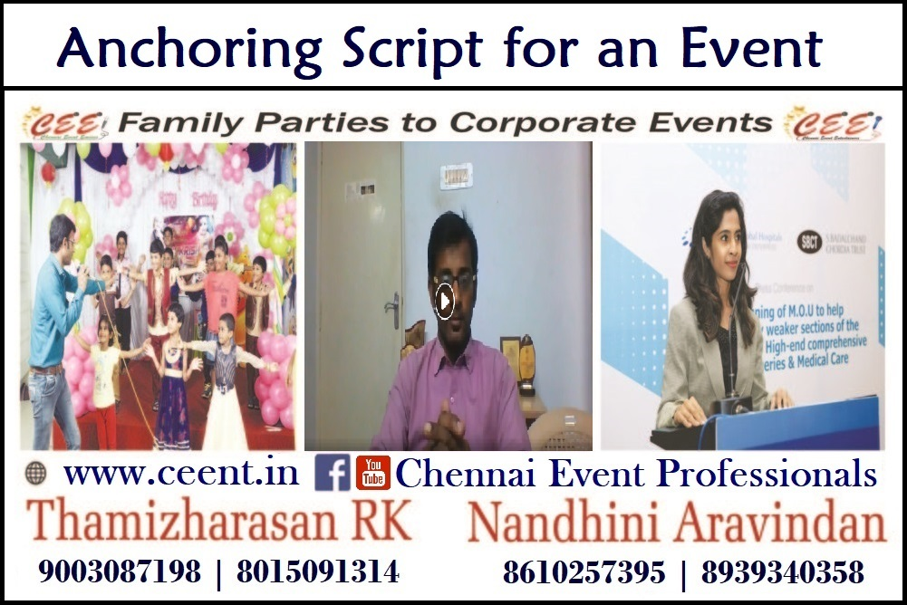 Anchoring Script of an Event Emcee for an Event from client's perspective_Chennai Anchor Thamizh