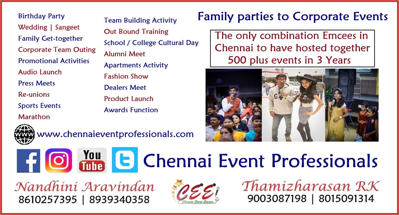 Chennai Event Professionals Emcees and Entertainers 9003087198