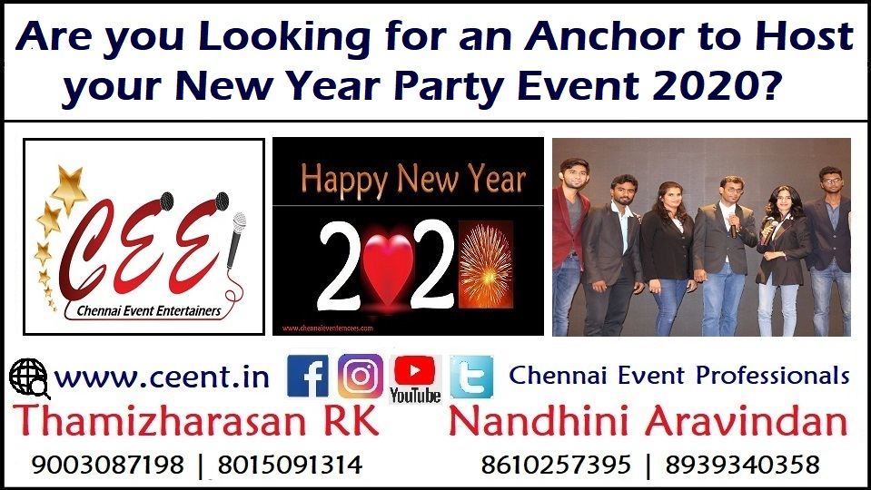 Are you Looking for an Anchor to Host Your New Year Party Event 2020 in Chennai and Puducherry