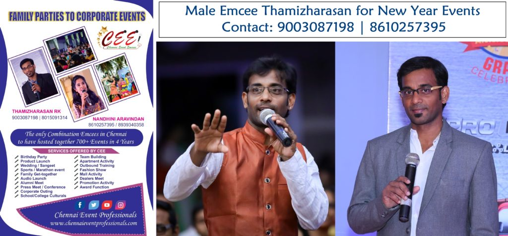 Male Emcee Thamizharasan for New Year Party Events in Chennai and Pondicherry