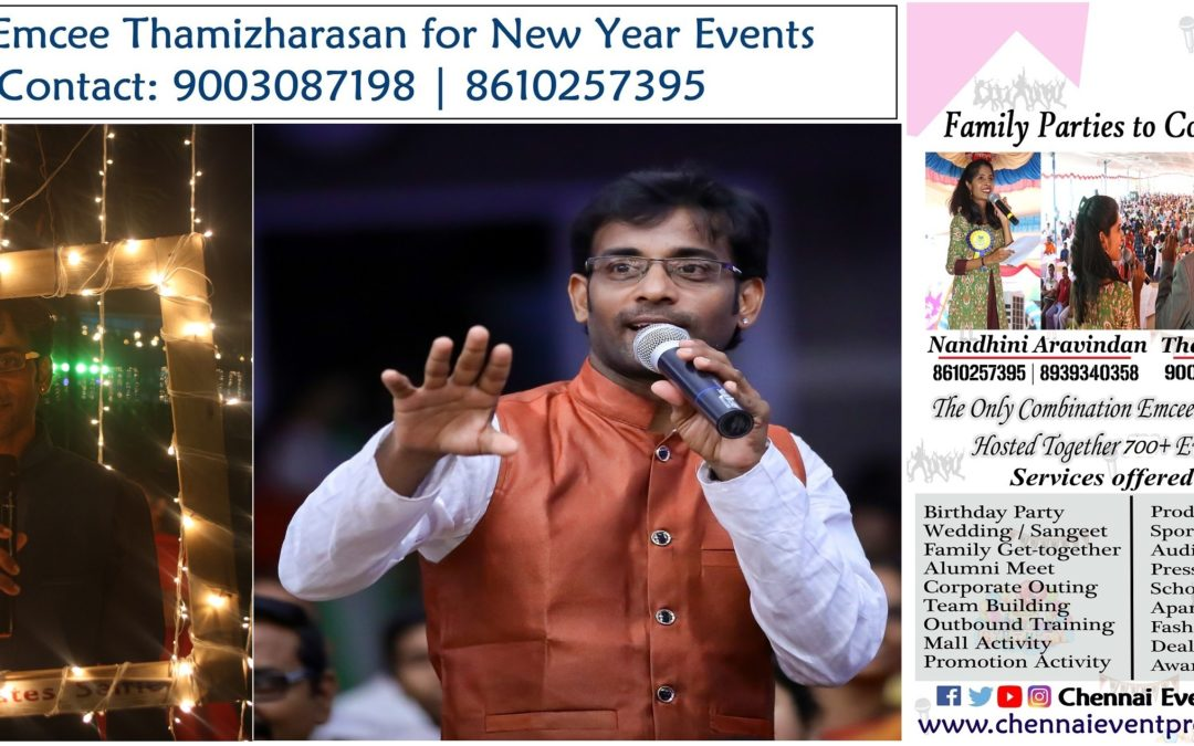 Male Emcee Thamizharasan for New Year Party Events in Chennai and Puducherry