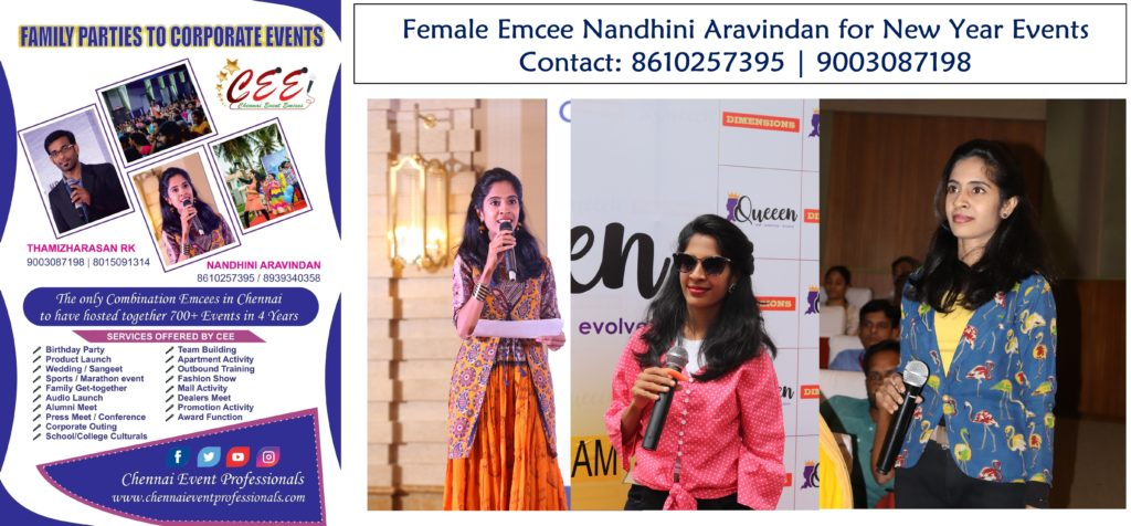 Female Emcee Nandhini Aravindan for New Year Party Events in Chennai and Puducherry