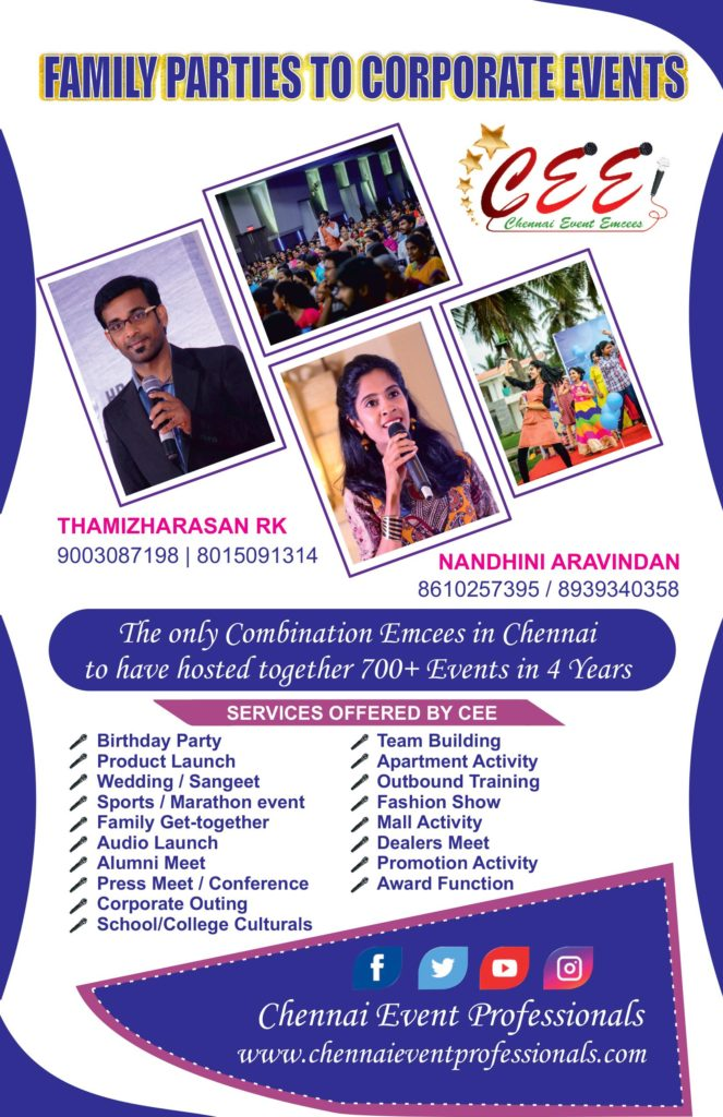 Chennai Event Emcees Entertainers and Professionals
