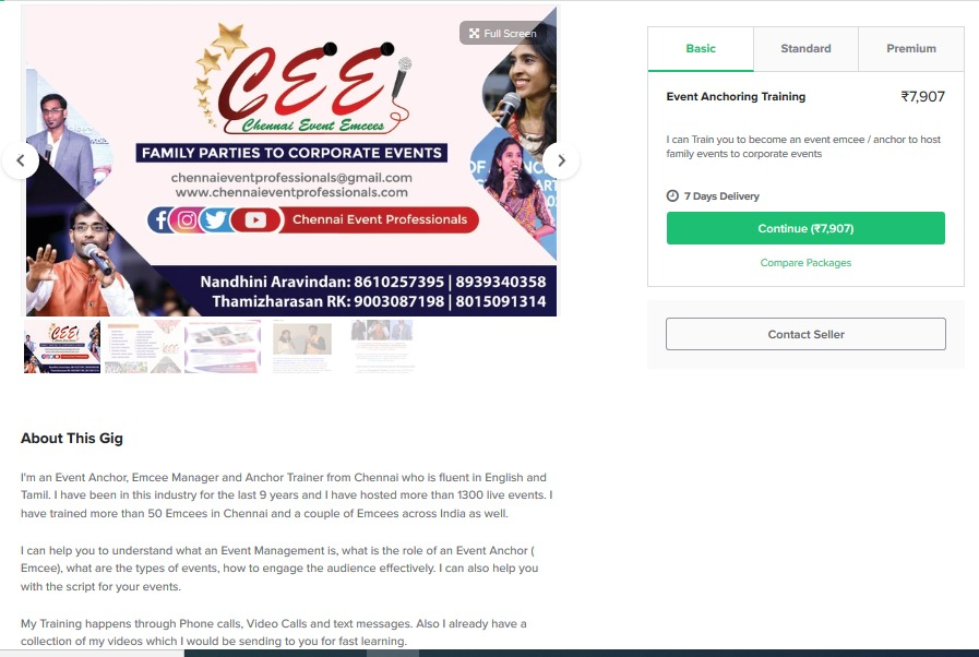 Event Anchor Training in Fiverr Chennai Event Emcees Thamizharasan