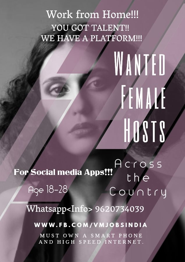 Wanted Female Hosts for Social Media Apps