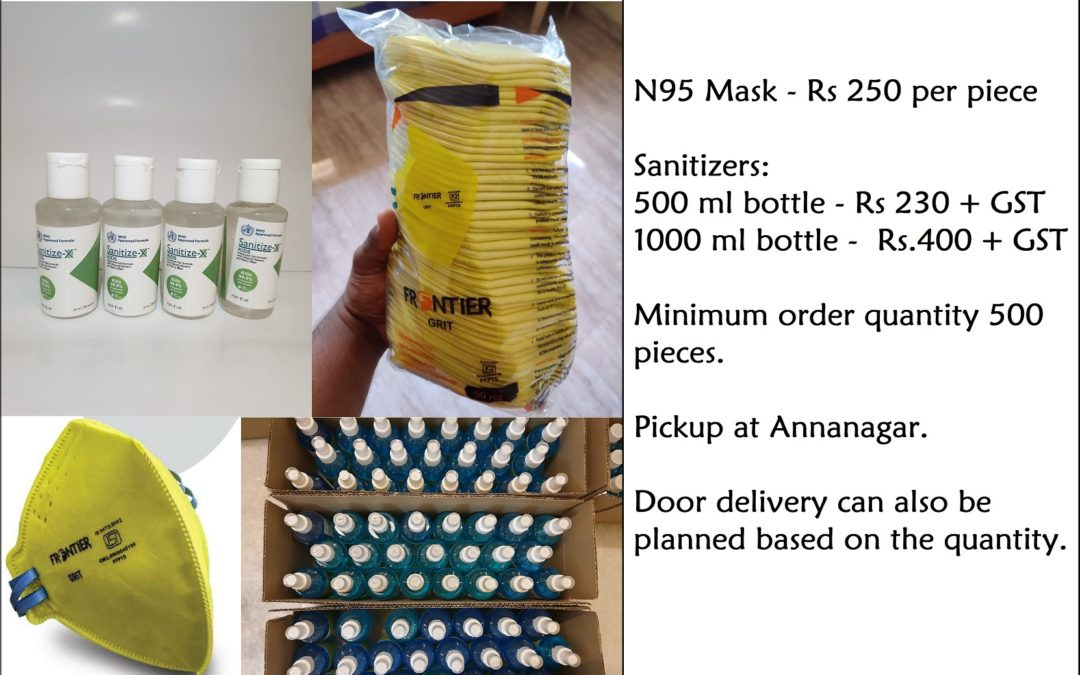 N95 Masks and Sanitizers available in Chennai to protect from Covid19