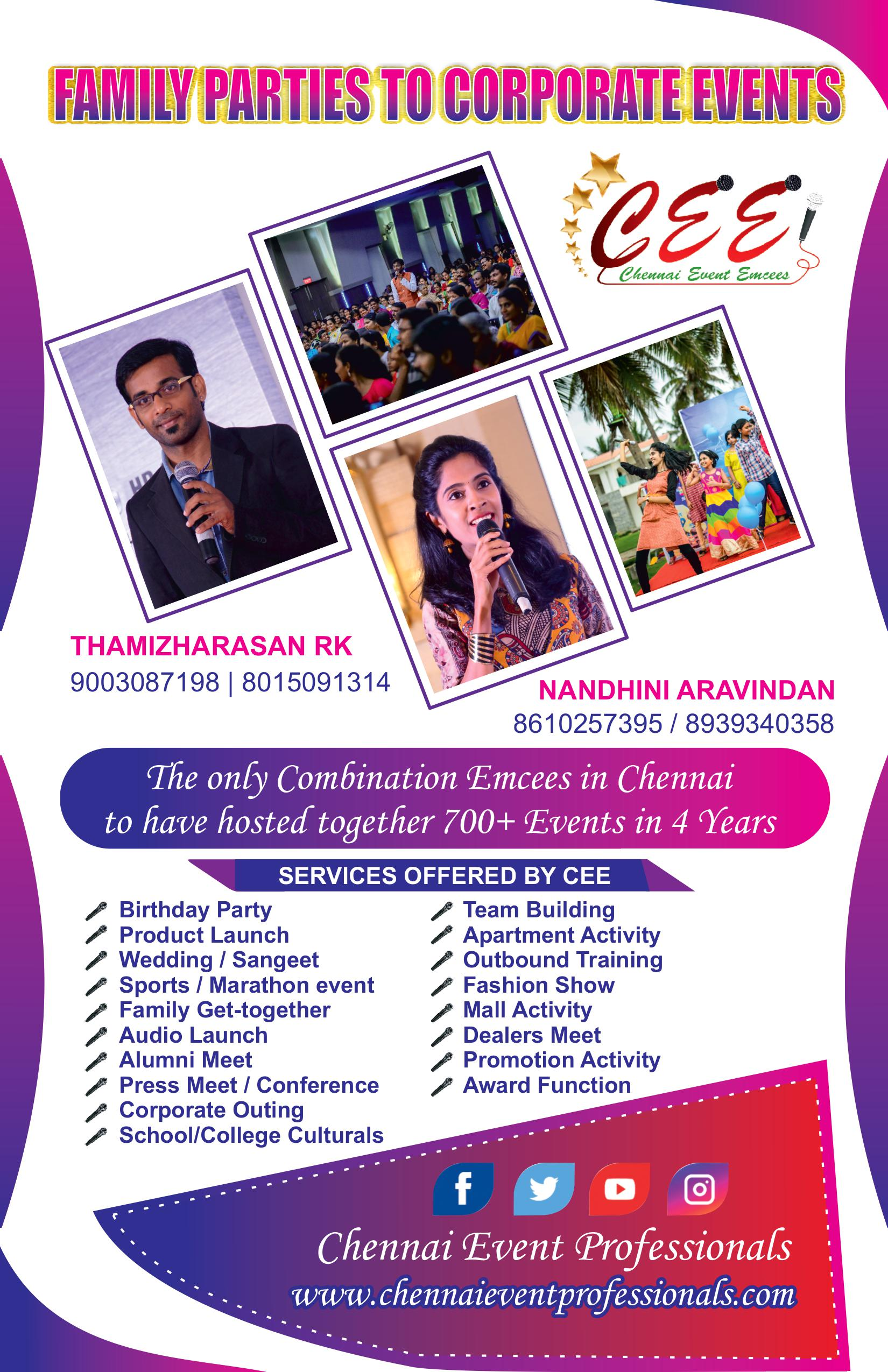 Chennai Event Emcees Entertainers and Professionals Digital Emcees Thamizharasan and Nandhini Aravindan