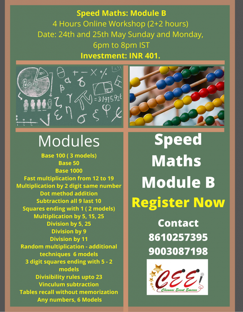 Speed Maths Poster Design by Chennai Event Professionals