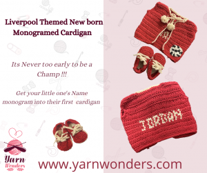 Liverpool Themed New Born Monogramed Cardigan online crocheting classes