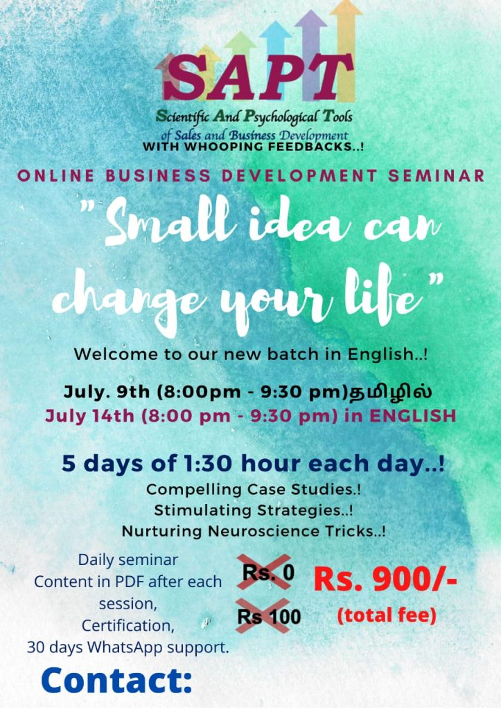 Sales and Business Development Online Training in English and Tamil