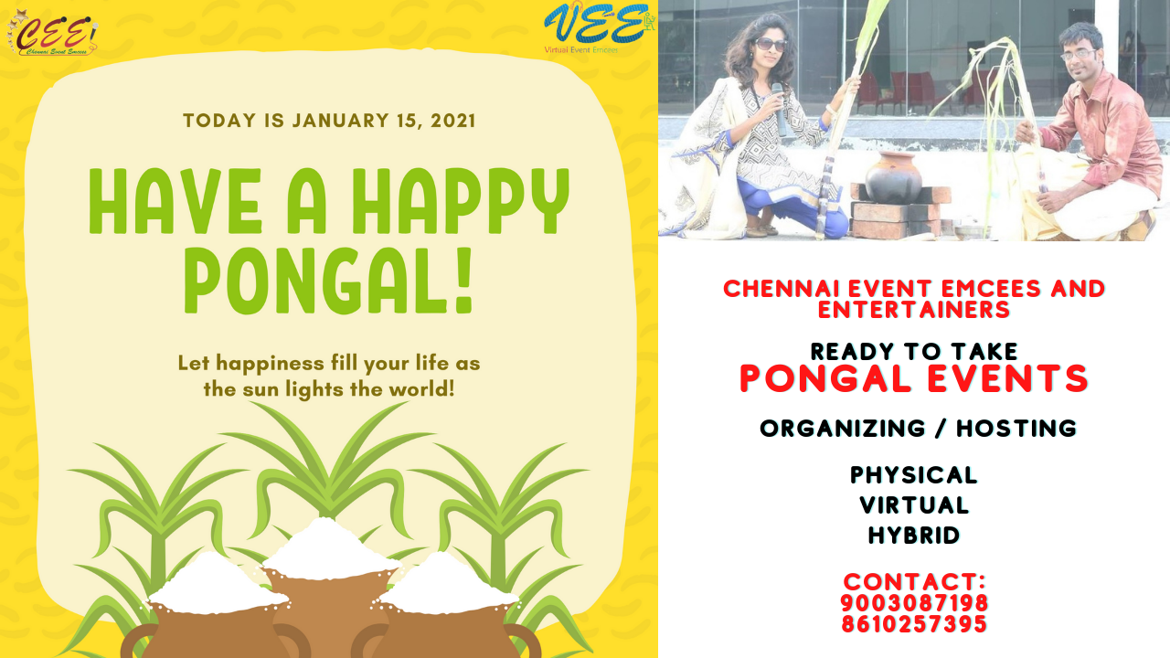 Chennai Event Emcees and Entertainers ready to take Virtual Pongal Celebration Events