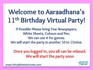 Welcome Message_Entertainment Event and Games Plan for Online Birthday Party